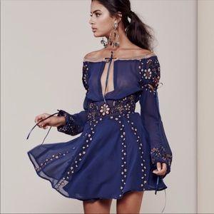 For Love & Lemons Nicoletta Dress Navy Floral S